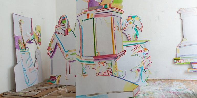 © Cut-outs, Öl auf Karton, Einzelteile, 200 × 110 cm, 2019
