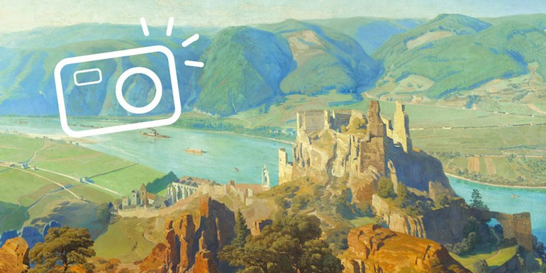 © Anton Hlavacek, Panorama des Donautals mit der Ruine Dürnstein, um 1906 © Landessammlungen NÖ